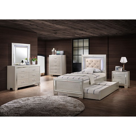 Elegance Twin Bed with LED on Headboard with Twin Trundle Bed ...