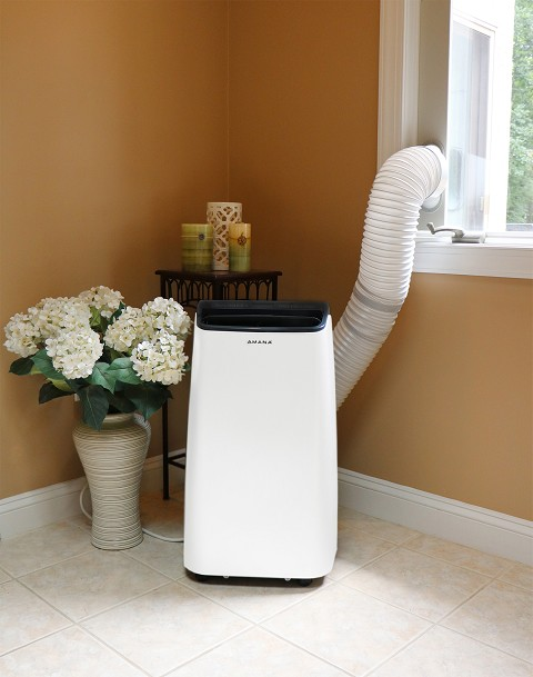 Amana 10,000 BTU Portable Air Conditioner with Remote, White/Black - AMAP101AB