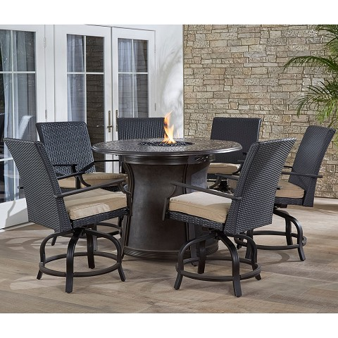 "Hanover Aspen Creek 7-Piece High-Dining Set with a 48"" Cast-top Fire Pit Table - ASPCRK7PCFPRD-BR"