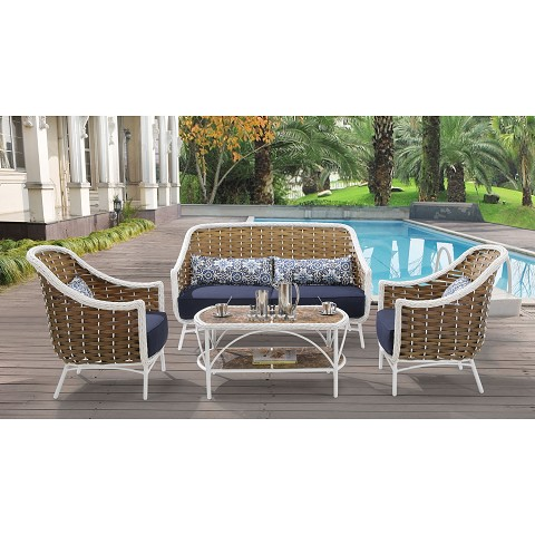 Athens 4PC Patio Set in Navy Blue - ATH-4PC-NVY