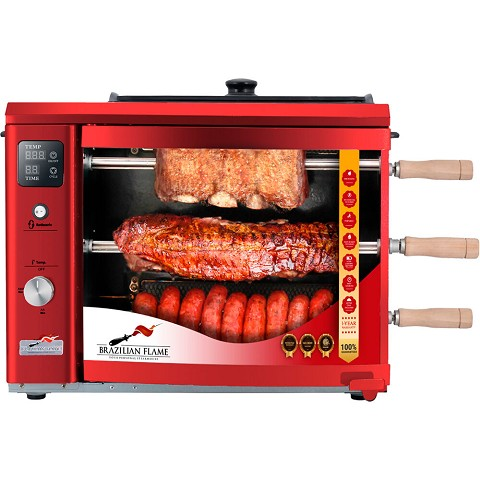 Brazilian Flame Brazilian Gas Rotisserie Grill with 3 Skewers and Upper Tray in Red, BG-03LXK-RED