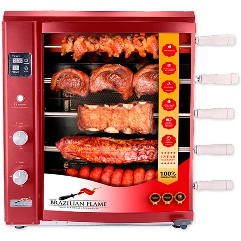 Brazilian Flame Brazilian Gas Rotisserie Grill with 5 Skewers in Red, BG-05LX-RED
