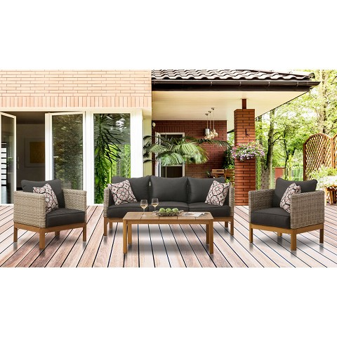 Mod Furniture Blake 4-Piece Modern Outdoor Conversation Set with Hand Woven All-Weather Wicker and Stylish Mid Century Faux Wood Accents, BLAKE4PC-GRY