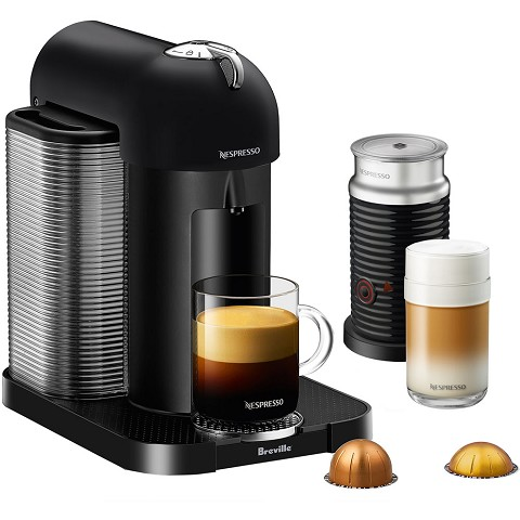 Breville Nespresso Vertuo Coffee & Espresso Single-Serve Machine in Matte Black and Aeroccino Milk Frother in Black, BNV250BKM1BUC1