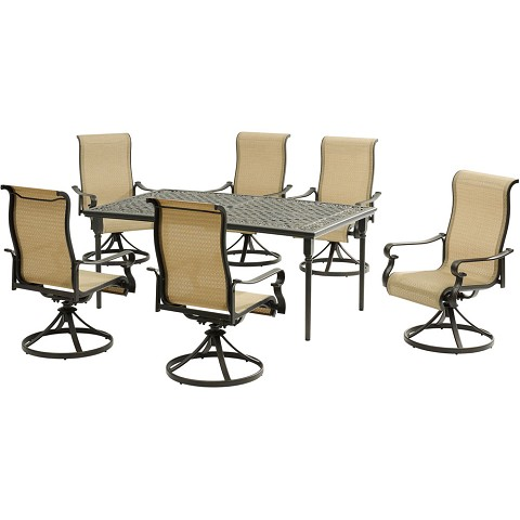 "Hanover Brigantine 7-Piece Dining Set with a 40"" x 70"" Cast-Top Dining Table and 6 Sling Swivel Rockers - BRIGDN7PCSW-6"
