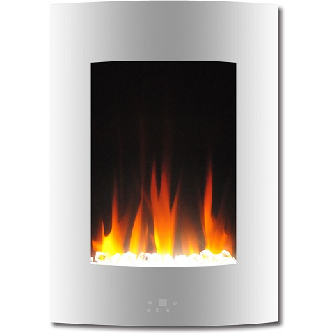 Cambridge 19.5 In. Vertical Electric Fireplace in White with Multi-Color Flame and Crystal Display - CAM19VWMEF-1WHT