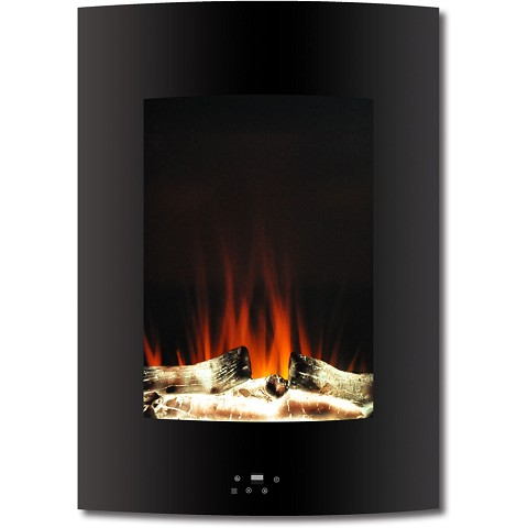 Cambridge 19.5 In. Vertical Electric Fireplace in Black with Multi-Color Flame and Driftwood Log Display - CAM19VWMEF-2BLK