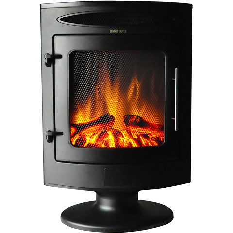 Cambridge 1500W Freestanding Electric Fireplace with Log Display - CAM20FSEF-1BLK-Radiate warmth wherever you wish with the help of this free standing fireplace from Cambridge. Enjoy the warm embrace and vision of fire without the dangers of a real o