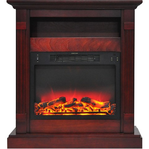 Cambridge Sienna 34 In. Electric Fireplace w/ Enhanced Log Display and Cherry Mantel - CAM3437-1CHRLG2
