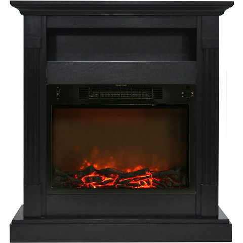 Cambridge Sienna 34 In. Electric Fireplace w/ 1500W Log Insert and Black Coffee Mantel - CAM3437-1COF
