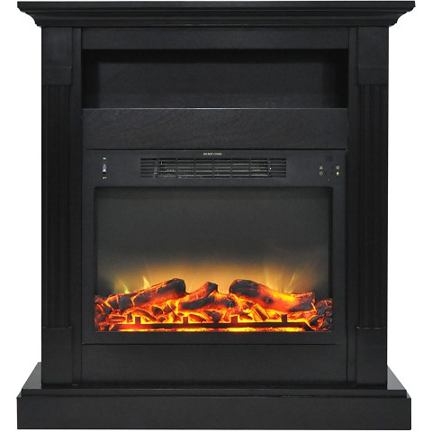Cambridge Sienna 34 In. Electric Fireplace w/ Enhanced Log Display and Black Coffee Mantel - CAM3437-1COFLG2
