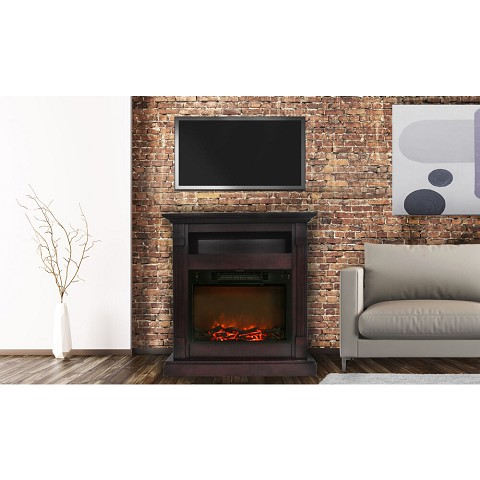 Sienna Fireplace Mantel with Electronic Fireplace Insert in Mahogany - CAM3437-1MAH