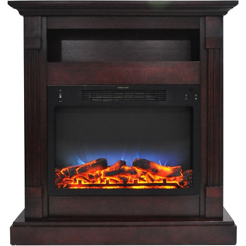 Cambridge Sienna 34 In. Electric Fireplace w/ Multi-Color LED Insert and Mahogany Mantel - CAM3437-1MAHLED