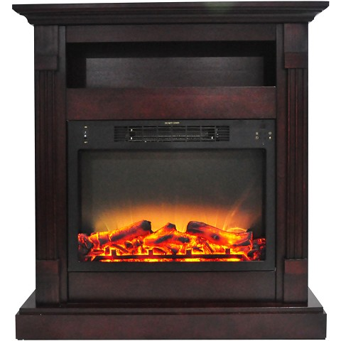 Cambridge Sienna 34 In. Electric Fireplace w/ Enhanced Log Display and Mahogany Mantel - CAM3437-1MAHLG2