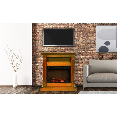 Sienna Fireplace Mantel with Electronic Fireplace Insert in Teak - CAM3437-1TEK
