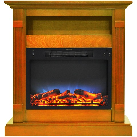 Cambridge Sienna 34 In. Electric Fireplace w/ Multi-Color LED Insert and Teak Mantel - CAM3437-1TEKLED