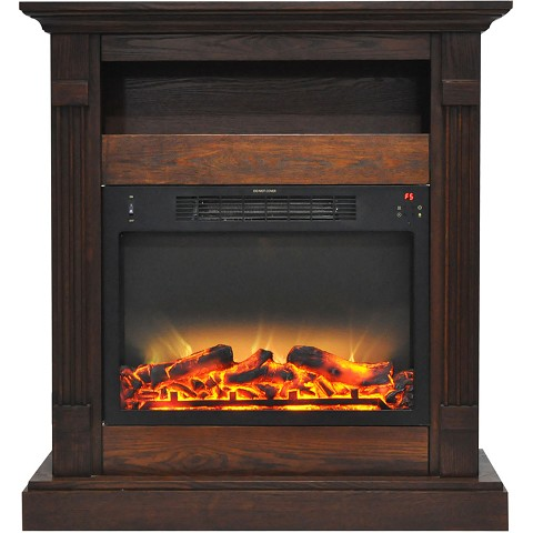 Cambridge Sienna 34 In. Electric Fireplace w/ Enhanced Log Display and Walnut Mantel - CAM3437-1WALLG2