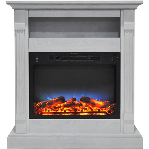 Cambridge Sienna 34 In. Electric Fireplace w/ Multi-Color LED Insert and White Mantel - CAM3437-1WHTLED