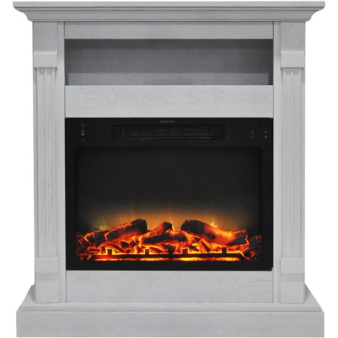 Cambridge Sienna 34 In. Electric Fireplace w/ Enhanced Log Display and White Mantel - CAM3437-1WHTLG2