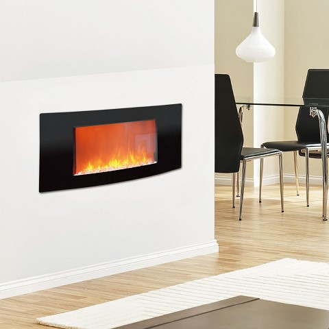 Callisto 35 In. Wall-Mount Electronic Fireplace with Curved Panel and Crystal Rocks - CAM35WMEF-1BLK