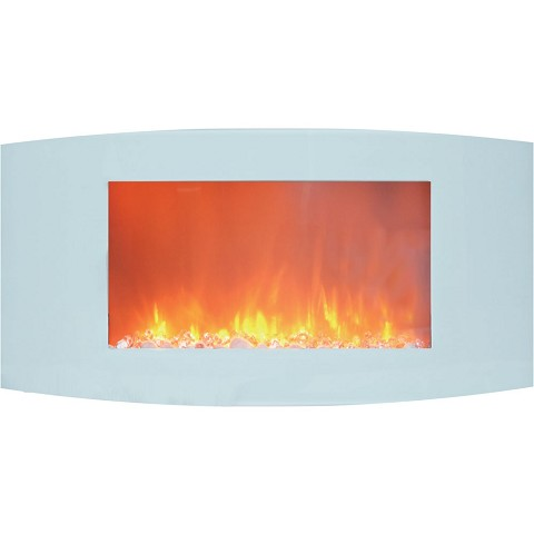 Cambridge Callisto 35 In. Wall-Mount Electric Fireplace with White Curved Panel and Crystal Rocks - CAM35WMEF-1WHT