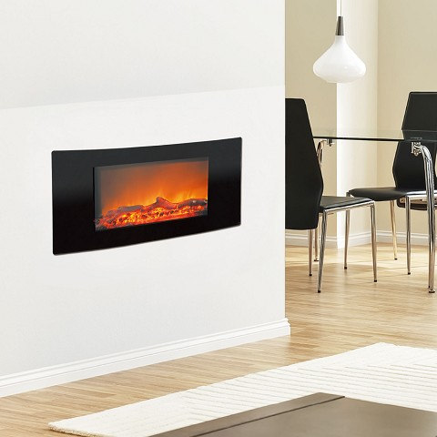 Callisto 35 In. Wall-Mount Electronic Fireplace with Curved Panel and Realistic Logs - CAM35WMEF-2BLK