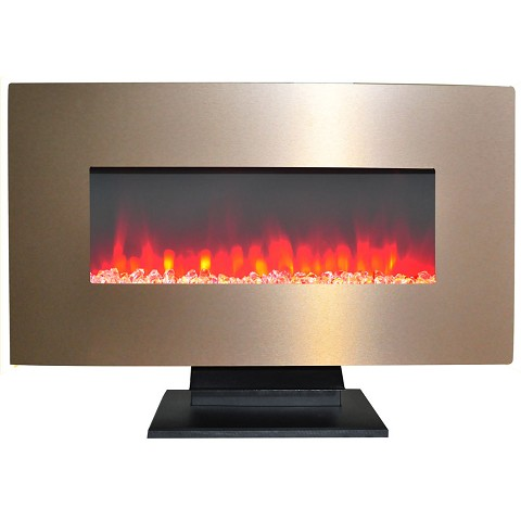 Cambridge 36 In. Metallic Electric Fireplace in Bronze with Multi-Color Crystal Rock Display - CAM36WMEF-1BR