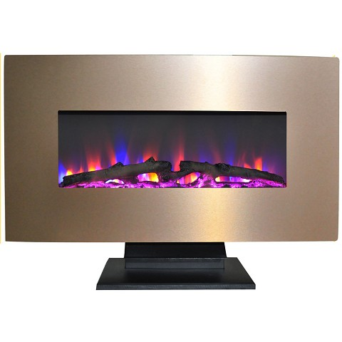 Cambridge 36 In. Metallic Electric Fireplace in Bronze with Multi-Color Log Display - CAM36WMEF-2BR