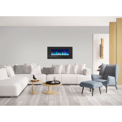 Cambridge 42 In. Wall-Mount Electric Fireplace in Black with Multi-Color Flames and Crystal Rock Display - CAM42WMEF-1BLK