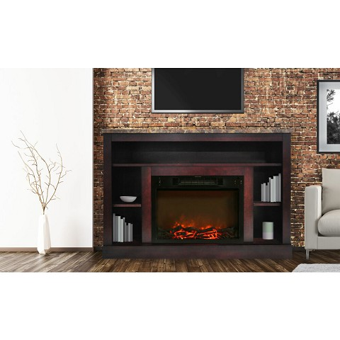 Seville Fireplace Mantel with Electronic Fireplace Insert in Cherry - CAM5021-1CHR