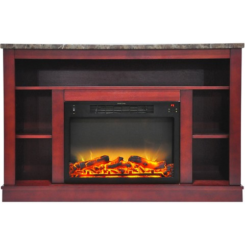 Cambridge 47 In. Electric Fireplace with Enhanced Log Insert and Cherry Mantel - CAM5021-1CHRLG2