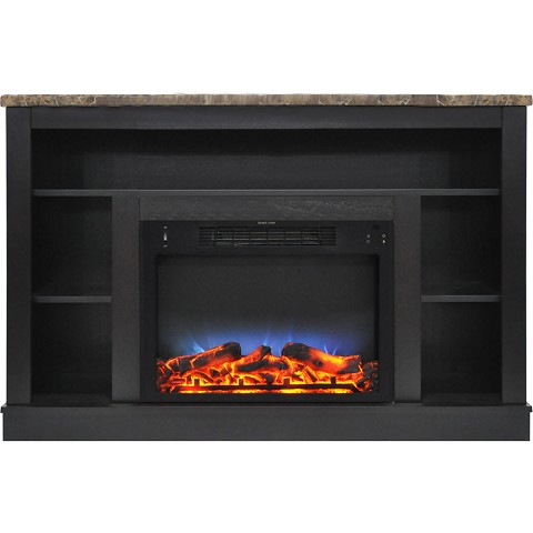 Cambridge 47 In. Electric Fireplace with a Multi-Color LED Insert and Black Coffee Mantel - CAM5021-1COFLED
