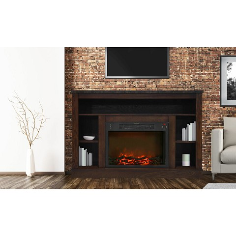 Seville Fireplace Mantel with Electronic Fireplace Insert in Mahogany - CAM5021-1MAH