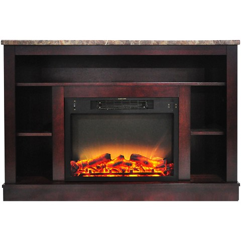 Cambridge 47 In. Electric Fireplace with Enhanced Log Insert and Mahogany Mantel - CAM5021-1MAHLG2