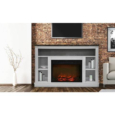 Seville Fireplace Mantel with Electronic Fireplace Insert in White - CAM5021-1WHT