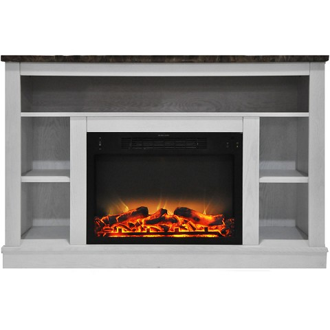 Cambridge 47 In. Electric Fireplace with Enhanced Log Insert and White Mantel - CAM5021-1WHTLG2