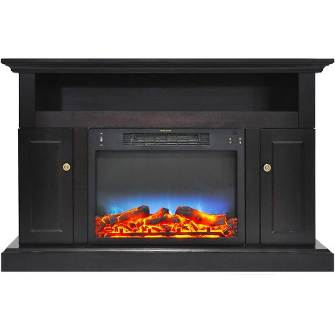 Cambridge Sorrento Electric Fireplace with Multi-Color LED Insert and 47 In. Entertainment Stand in Black Coffee - CAM5021-2COFLED