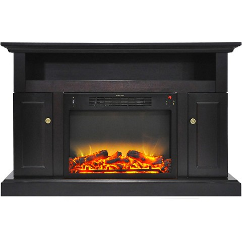Cambridge Sorrento Electric Fireplace with an Enhanced Log Display and 47 In. Entertainment Stand in Black Coffee - CAM5021-2COFLG2
