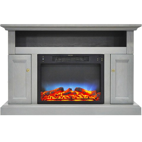 Cambridge Sorrento Electric Fireplace with Multi-Color LED Insert and 47 In. Entertainment Stand in Gray - CAM5021-2GRYLED