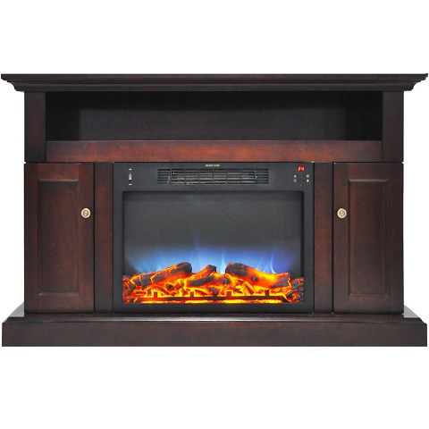Cambridge Sorrento Electric Fireplace with Multi-Color LED Insert and 47 In. Entertainment Stand in Mahogany - CAM5021-2MAHLED