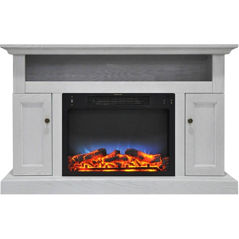Cambridge Sorrento Electric Fireplace with Multi-Color LED Insert and 47 In. Entertainment Stand in White - CAM5021-2WHTLED