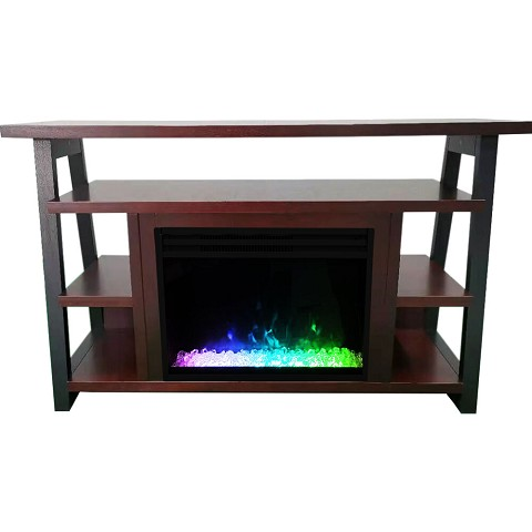Cambridge 32-In. Sawyer Industrial Electric Fireplace Mantel with Deep Crystal Display and Color Changing Flames, Mahogany, CAM5332-1MAHCRS