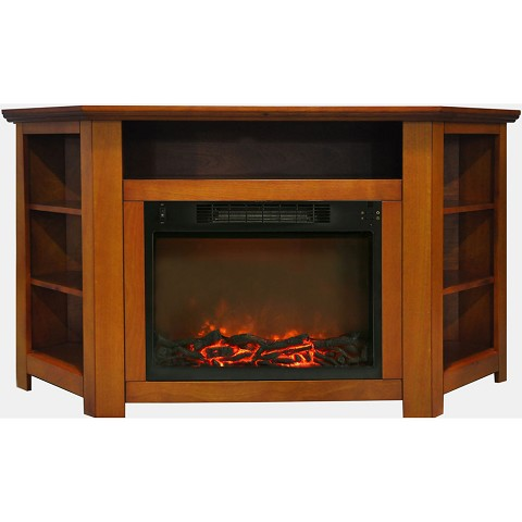 Cambridge Stratford 56 In. Electric Corner Fireplace in Teak with 1500W Fireplace Insert - CAM5630-1TEK