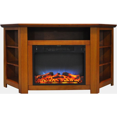 Cambridge Stratford 56 In. Electric Corner Fireplace in Teak with LED Multi-Color Display - CAM5630-1TEKLED