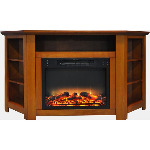 Cambridge Stratford 56 In. Electric Corner Fireplace in Teak with Enhanced Fireplace Display - CAM5630-1TEKLG2