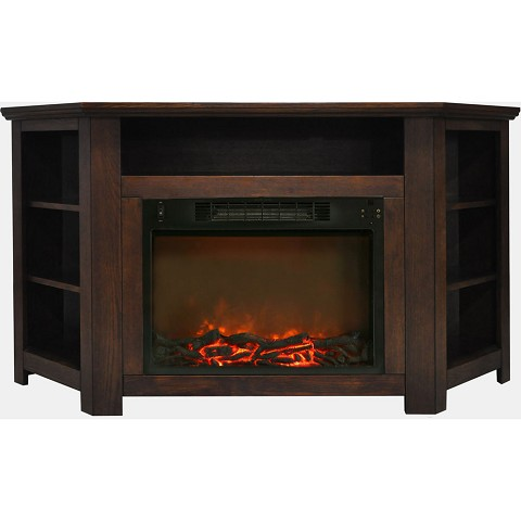 Cambridge Stratford 56 In. Electric Corner Fireplace in Walnut with 1500W Fireplace Insert - CAM5630-1WAL