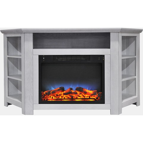 Cambridge Stratford 56 In. Electric Corner Fireplace in White with LED Multi-Color Display - CAM5630-1WHTLED