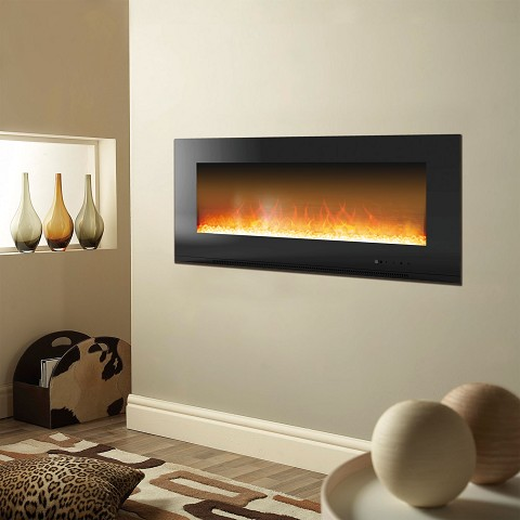 Metropolitan 56 In. Wall-Mount Electronic Fireplace with Crystal Rock Display in Black - CAM56WMEF-1BLK