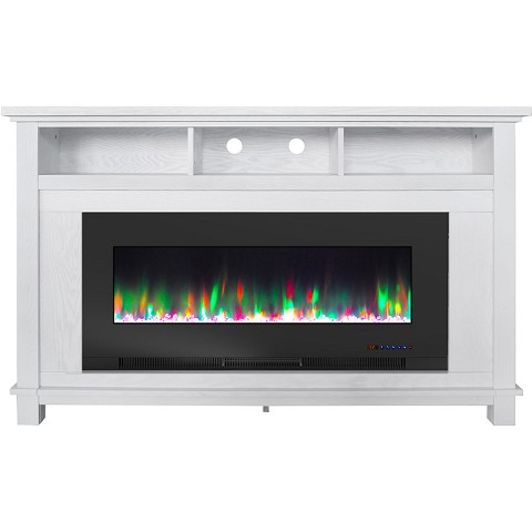 "Cambridge San Jose Fireplace Entertainment Stand in White with 50"" Color-Changing Fireplace Insert and Crystal Rock Display, CAM5735-1WHT"