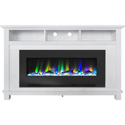 "Cambridge San Jose Fireplace Entertainment Stand in White with 50"" Color-Changing Fireplace Insert and Driftwood Log Display, CAM5735-2WHT"